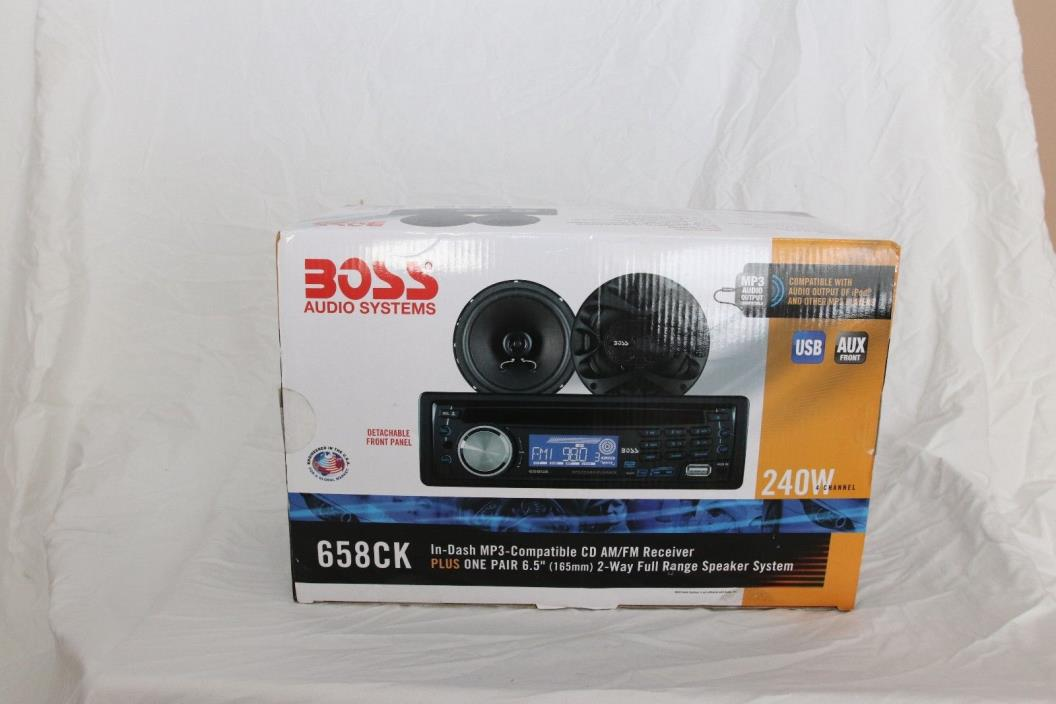 BOSS In-Dash MP3 CD AM/FM Receiver 658CK USB AUX + Speakers 240w 4 Channel