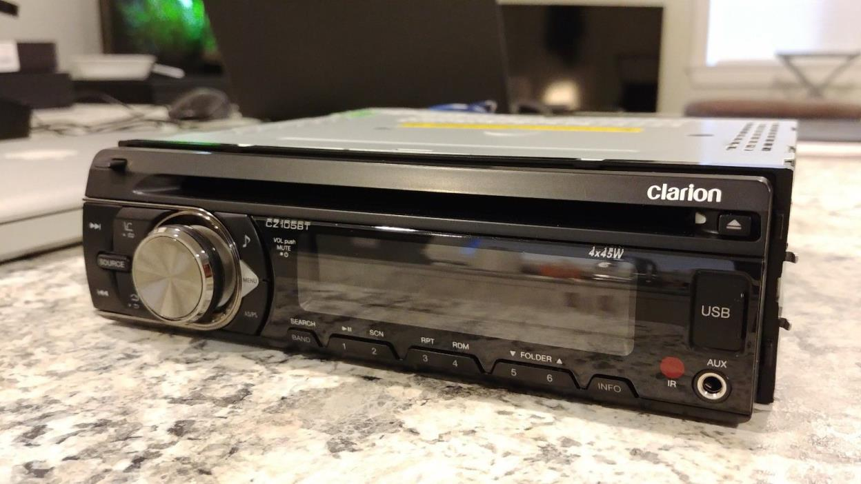 Clarion CZ105BT Single DIN CD/USB/SD/AM/FM Car Stereo with Built-In Bluetooth