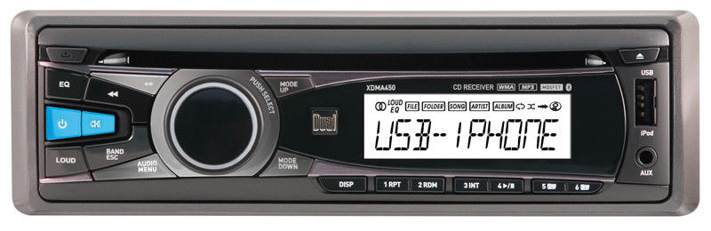 DUAL XDMA450 SINGLE-DIN CAR CD PLAYER iPHONE/iPOD CONTROL USB/AUX STEREO RADIO