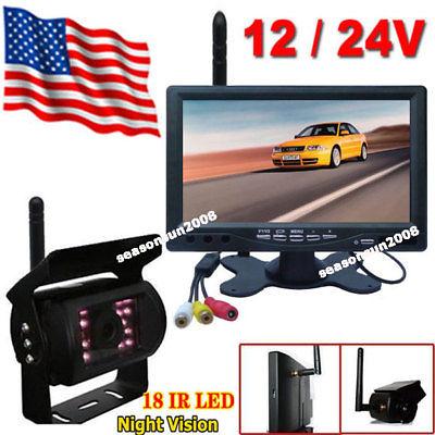 12V-24V Wireless IR Night Vision Reverse Camera +7