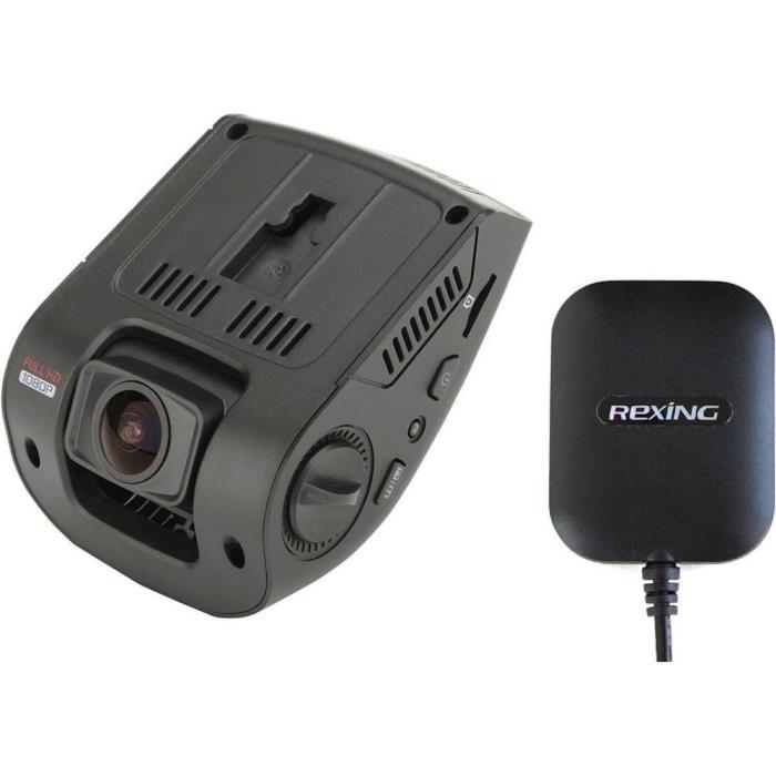 Rexing - V1G 1080p Dash Cam with GPS Logger - Black