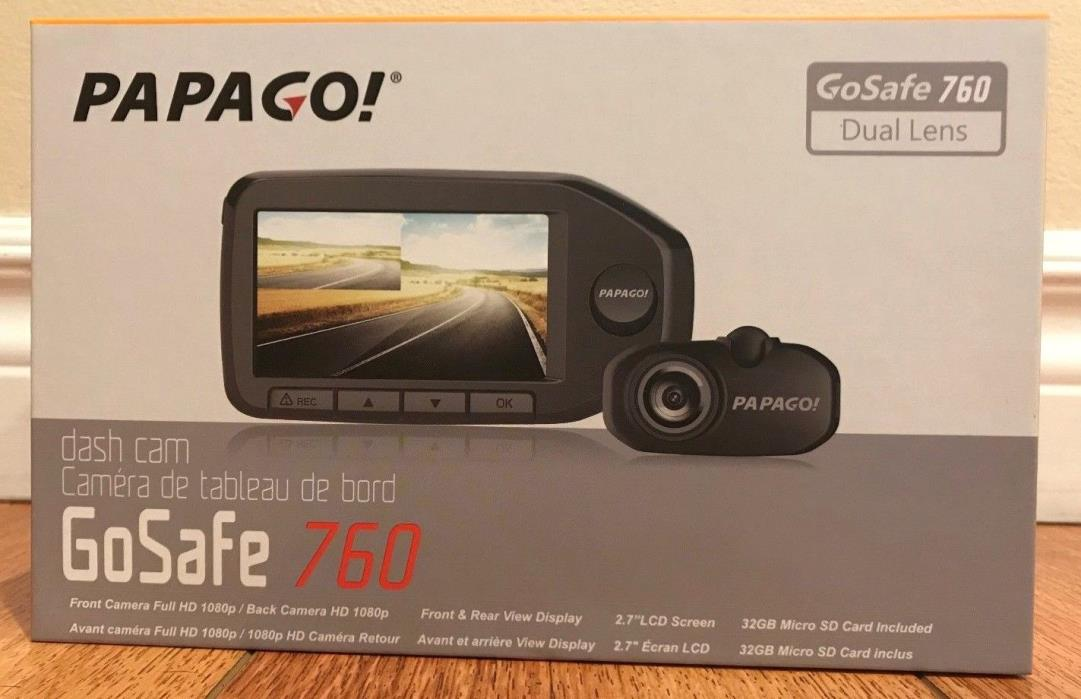 NEW! PAPAGO GoSafe 760 GPS Dual Cameras Front & Rear Sealed.