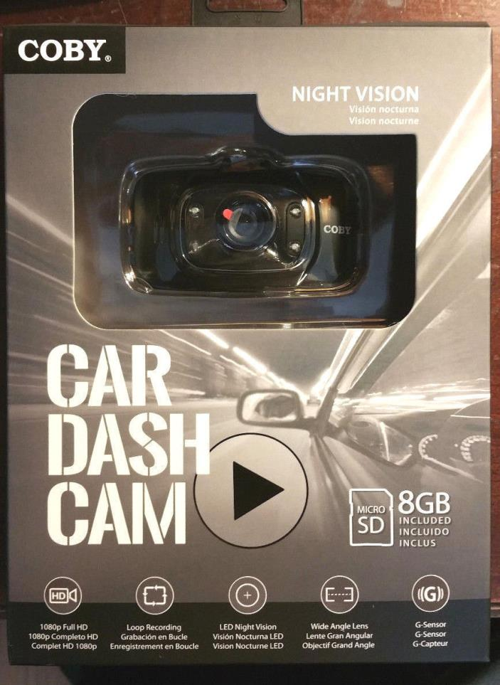 NEW Night Vision Car Dash Cam Camera by Coby w/ 8GB micro SD card