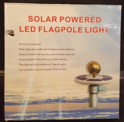 Solar Powered Flag Spotlights Pole Flagpole LED Light Downlight For Most 15'-25'
