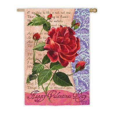 Happy Valentine's Day Red Rose Double Sided Lg House Flag Only Evergreen