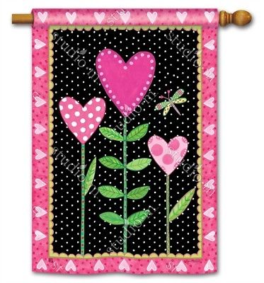 Love Sprouts 2 Sided Valentine's Day Banner Flag 28x40 Flowers Dragonfly