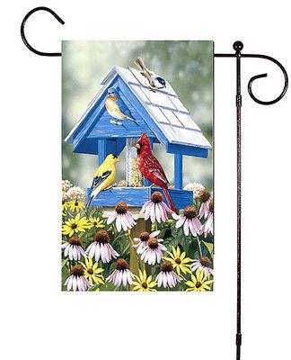 Birdhouse Birds Daisies Coneflowers Spring Summer Sm Flag