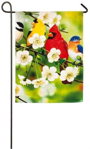 Songbirds on a flowering branch summer small garden flag Evergreen