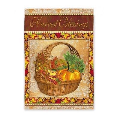 Thanksgiving Harvest Blessings Autumn Maple Leaves Pumpkin Corn Flag  2 sided