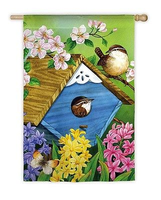 Bird Peaking from Nest Birdhouse Butterfly Spring Summer Flowers Lg House Flag