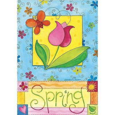 Spring Garden Impressions Tulips Butterflies heart sun Small Flag
