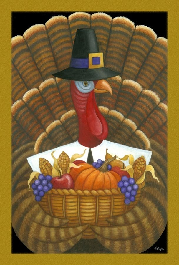 Thanksgiving Tom Turkey Pilgrim Hat Gobbler Harvest  Holiday Toland Sm Flag