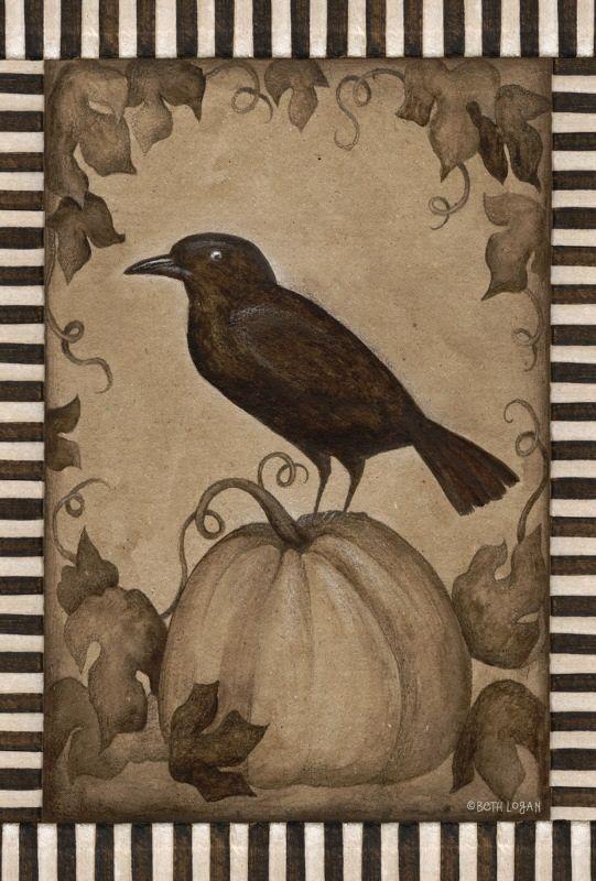 Fall Autumn Pumpkin Crow Primitive Look Toland Sm Flag
