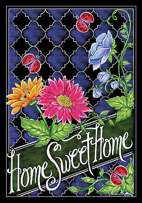 Home Sweet Home Pretty Spring Flowers 12 X 18 Inch Garden Flag Custom Decor
