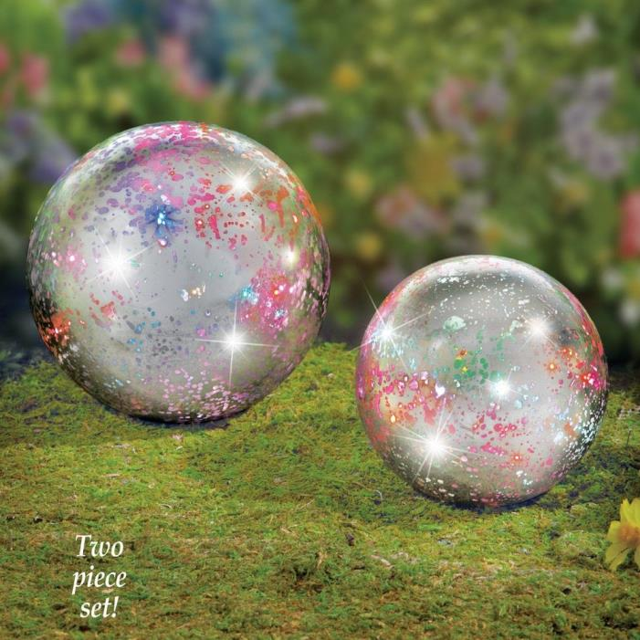 Set of 2 Unique Color Changing Twinkling Garden Gazing Globe Balls