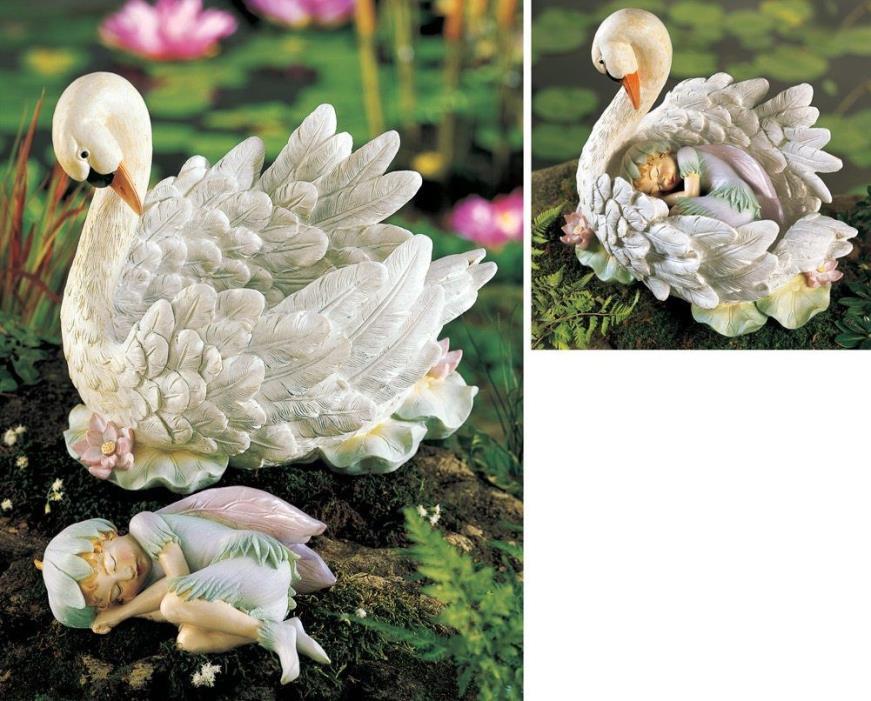 Swan Lake Fantasy Fairy & Swan Outdoor Garden Statue Set