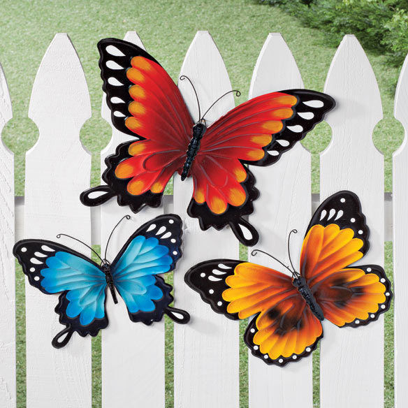 Set of 3 Whimsy Colorful Metal Butterflies Outdoor Garden Fence Wall Decor