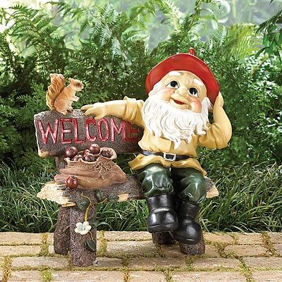 Garden Gnome Greeting Sign Welcome Statue Decor Bench Outdoor Figurine Yard Lawn