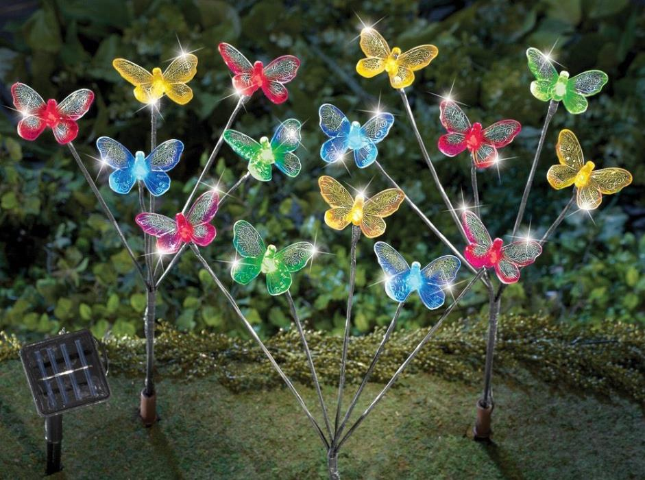 Set of 3 Solar Powered Multi-Colored LED Butterfly Garden Stakes