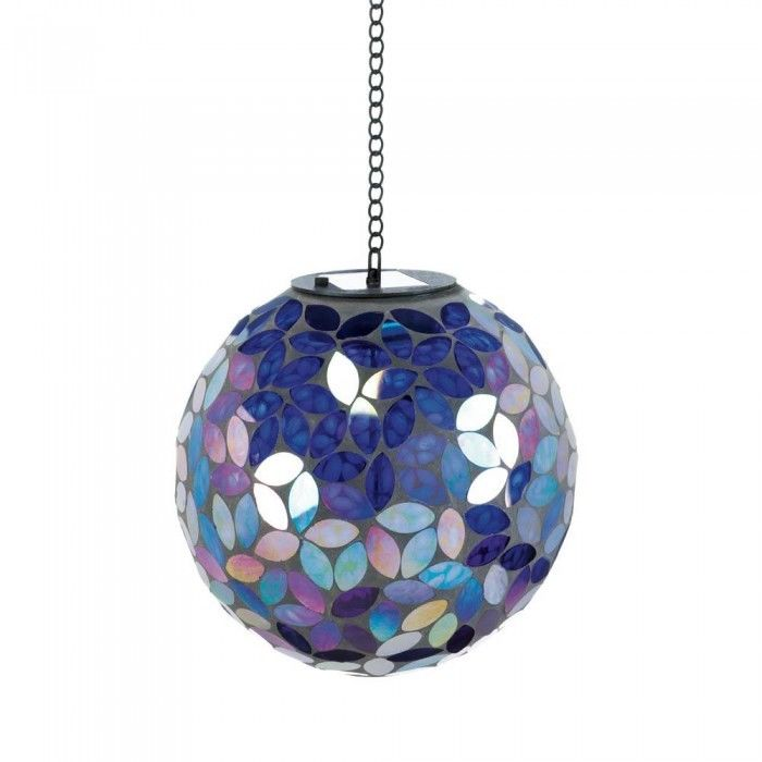 Blue Shades Of Mosaic Solar Ball Home Decor Garden Yard Battery Panel Patio New