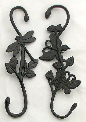 Cast Iron  Butterfly & Dragonfly Plant  Hangers Brown Indoor and Patio  Decor