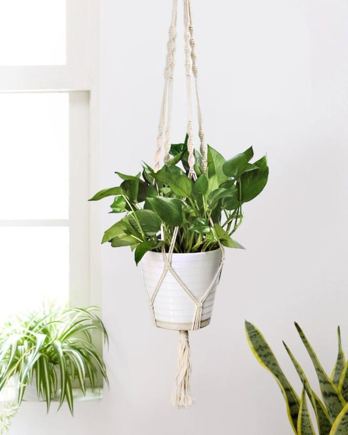 Plant Hanger Handmade Woven Cotton Rope Durable Planter Basket Wall Home Yard