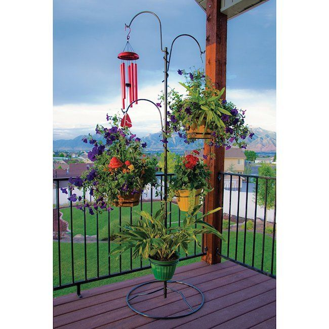 Hanging Planter Stand Standing Tall Plant Feeders Holder Outdoor Patio Garden