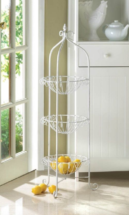 White Metal Triple Basket Plant Stand Indoor-Outdoor Corner Basket Ornate Dainty