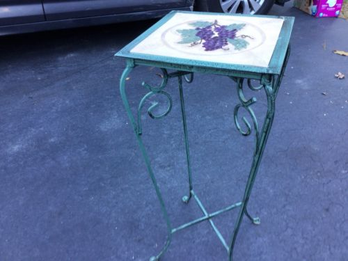 Folding Tile Top Plant Stand Patio Porch Table (Green)