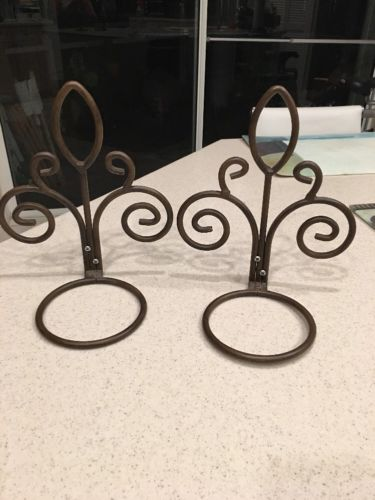 Two Vintage Wall Brass Flower/Planter Pot Holders