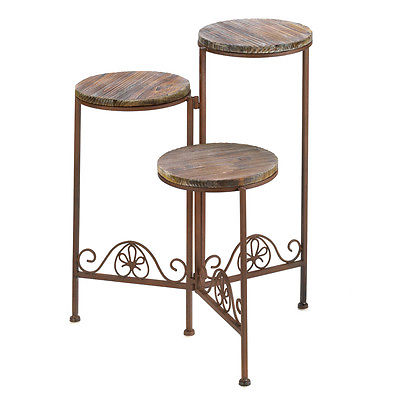 Rustic Triple Planter Stand Folding Configuration Three Tier Pedestals Wood WOWs