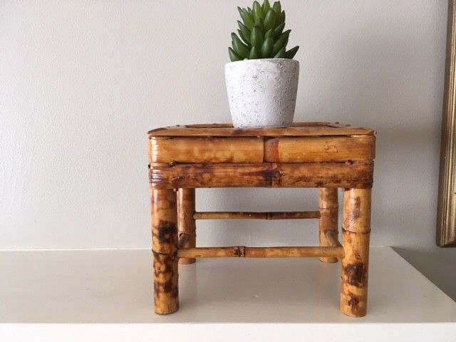 Vintage Bohemian Bamboo/Rattan plant stand/display table