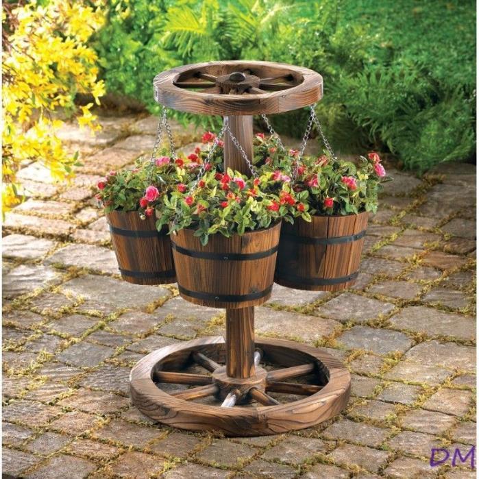 Rustic Western Wagon Wheel Four Bucket Planter Garden Patio Decor