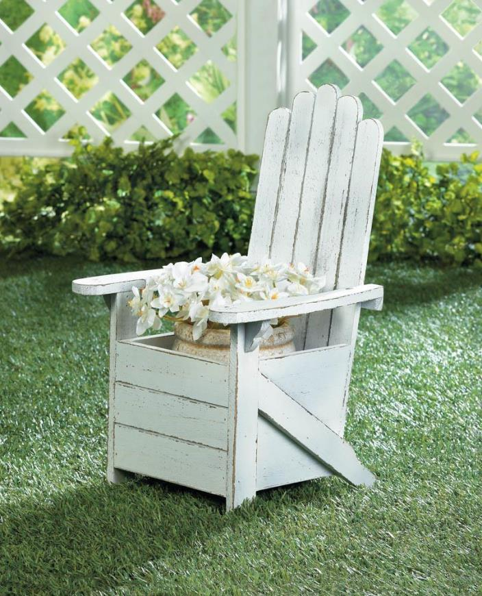 WHITE WOODEN ADIRONDACK PLANTER CHAIR W/ WHITE WEATHERED LOOK