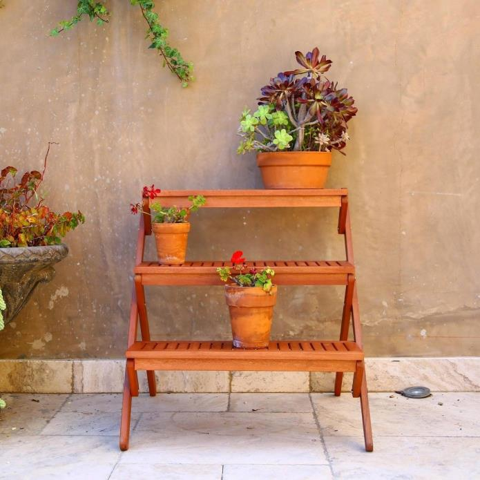 Plant Stand 3 Shelf Real Teak Wood Tiered Flower Display Stand Patio Furniture