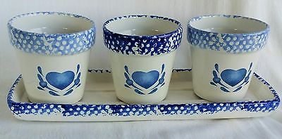 lot set of 3 Ceramic hart pattern Garden Planters Flower Plant Pot primative