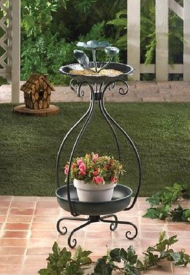 Outdoor Bird Feeder and Planter Beautiful Green Metal With Scroll Work Legs