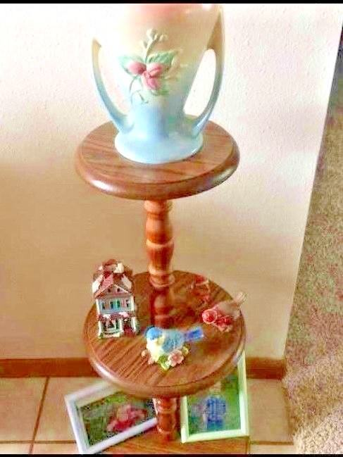 MCM Footed Wood Spindle Round 3 Tier Shelf Plant Curio Stand Alone Knick Knacks