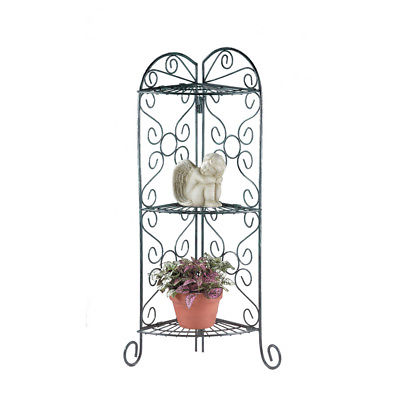 Corner Plant Stand Flowers Garden Patio Porch Yard Display Pots Metal Shelves