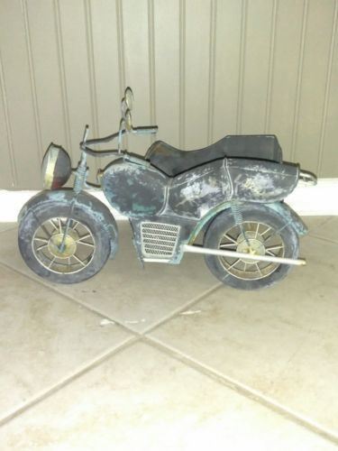 Rare Metal Motorcycle with Sidecar Planter - 15