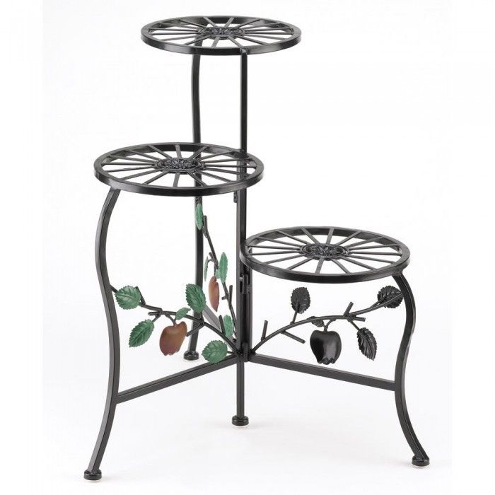 Triple Tier Country Apple Plant Stand Home Decor Iron Porch Patio Yard Garden