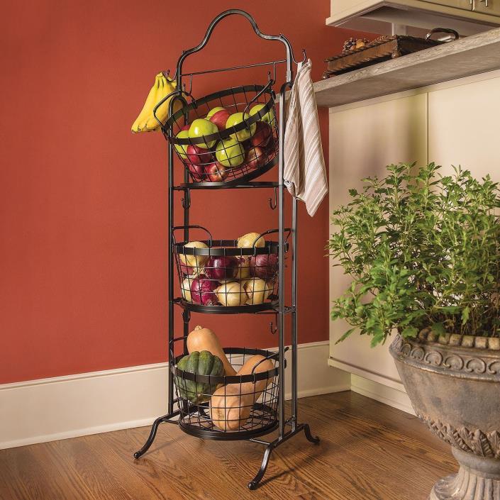 Wire Storage Basket Bins Shelving 3 Tier Rack Organizer Fruit Stand Vegetable
