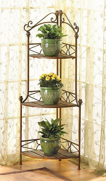 3 Shelf Corner Plant Stand Wood Shelves and Decorative Metal Scrollwork Frame