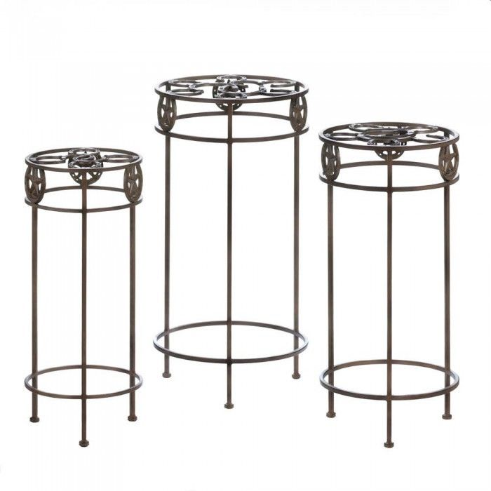 Iron Western Lone Star Plant Stand Trio Cast Horseshoe Style Home Decor Holder