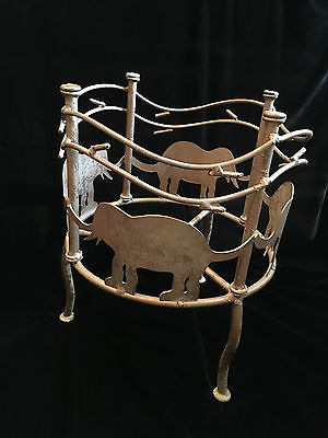 Plant Stand Elephant Wrought Welded Iron Vintage 14-1/2