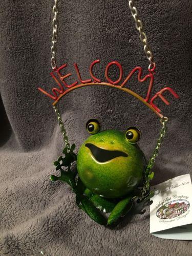 Metal Hanging Outdoor Welcome Frog