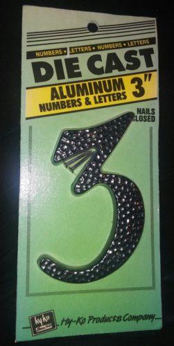 3 Inch Black Aluminum Die Cast Number 3 DC-3/3,  Hy-Ko Prod Co - Nails Enclosed