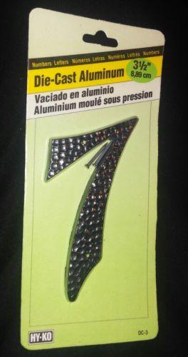 3 1/2 Inch Black Die Cast Aluminum Number 7 Hy-Ko - Nails Enclosed
