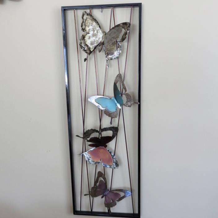 METAL BUTTERFLY WALL PLAQUE DECOR GARDEN HOME WALL ART 33 in. New BUTTERFLIES