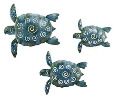 Ocean Life Sea Turtle Trio Metal Wall Decor Set of 3